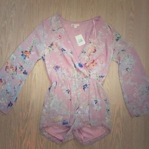 Pink floral silk romper